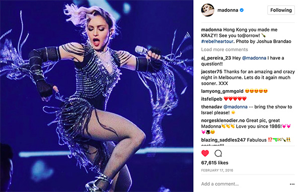 The cover photo was also used by Madonna on her Instagram