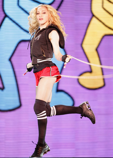 Madonna skipping rope on the Sticky & Sweet Tour
