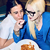Madonna having pasta dinner with her friend Maha